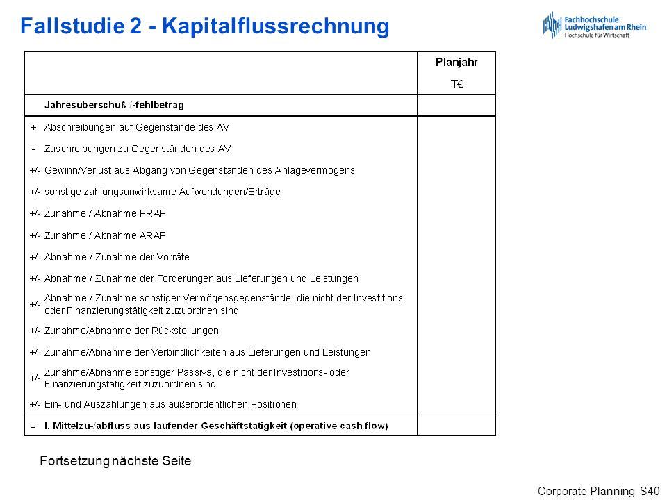 Fallstudie 2 - Kapitalflussrechnung