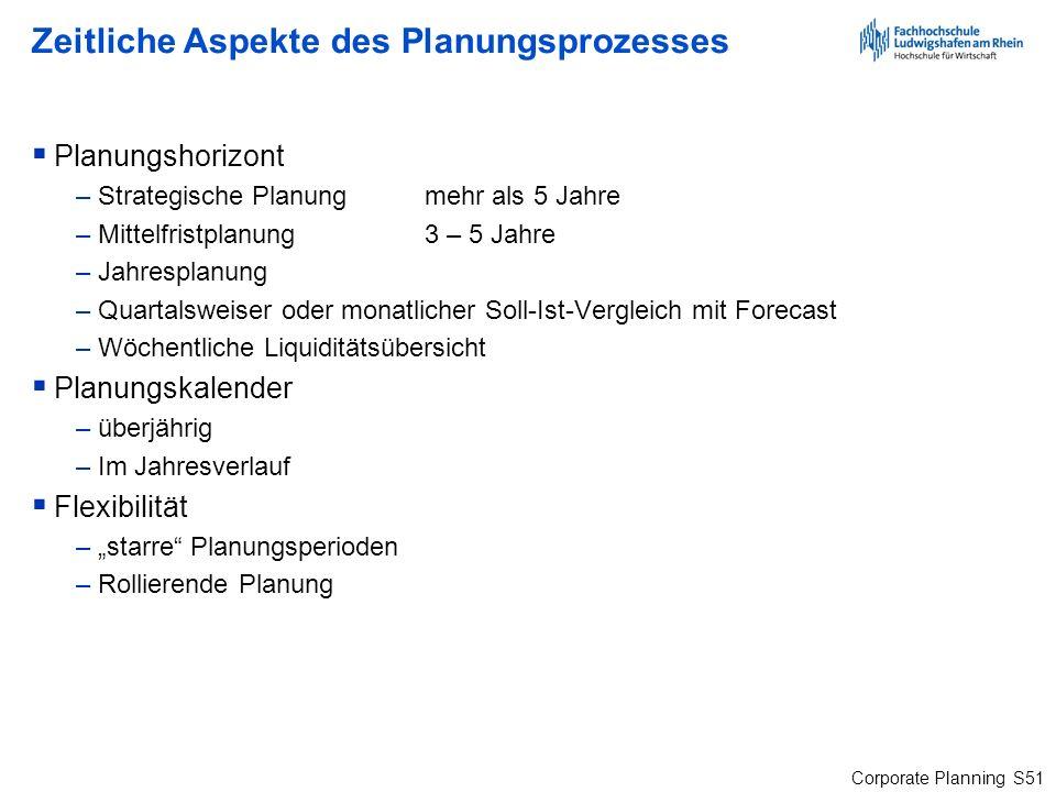 Zeitliche Aspekte des Planungsprozesses