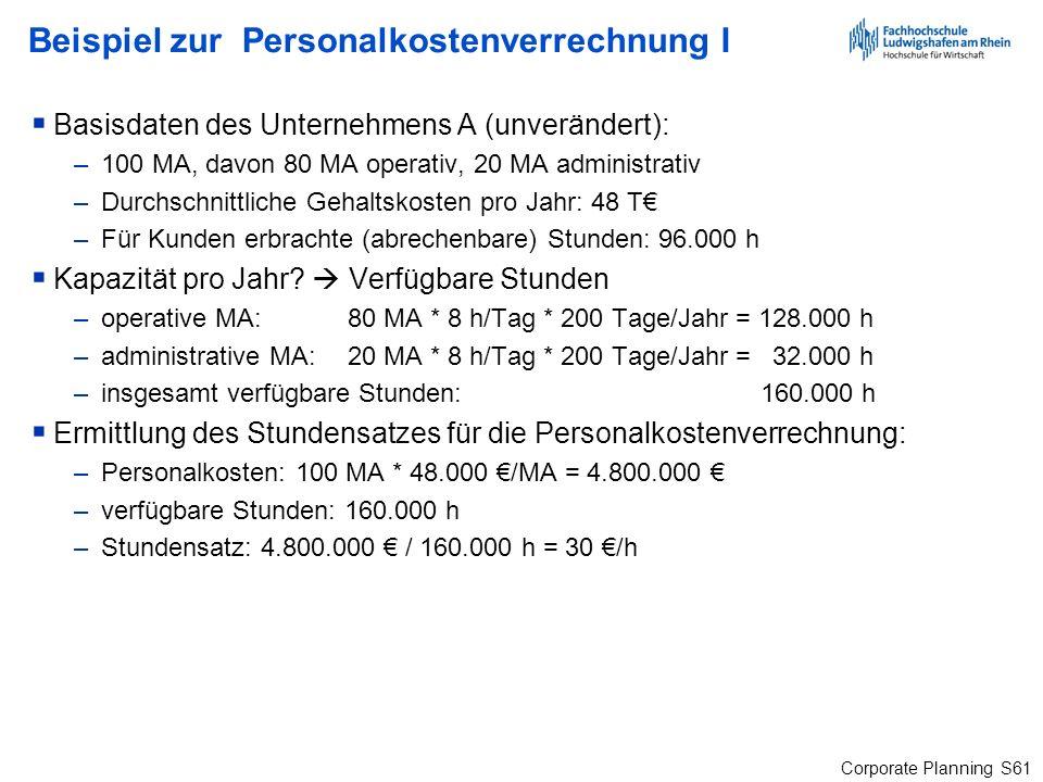 Beispiel zur Personalkostenverrechnung I