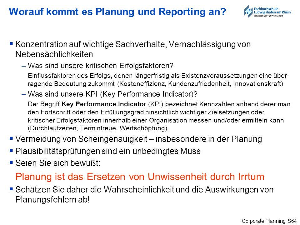 Worauf kommt es Planung und Reporting an