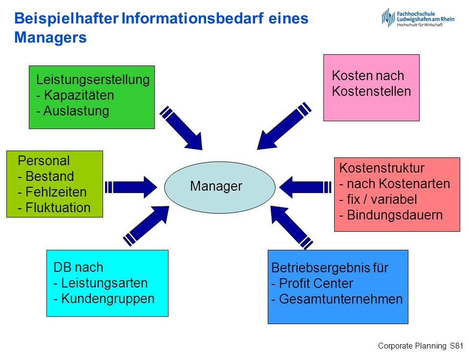Beispielhafter Informationsbedarf eines Managers