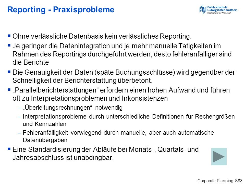 Reporting - Praxisprobleme