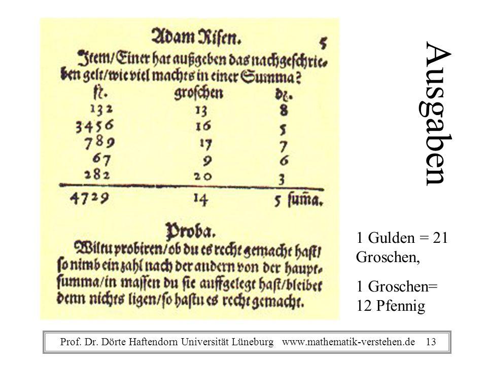 Ausgaben 1 Gulden = 21 Groschen, 1 Groschen= 12 Pfennig