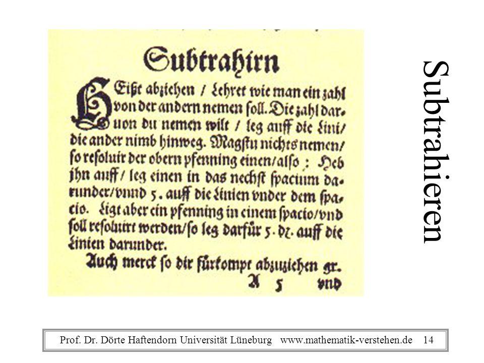 Subtrahieren Prof. Dr. Dörte Haftendorn Universität Lüneburg www.mathematik-verstehen.de 14