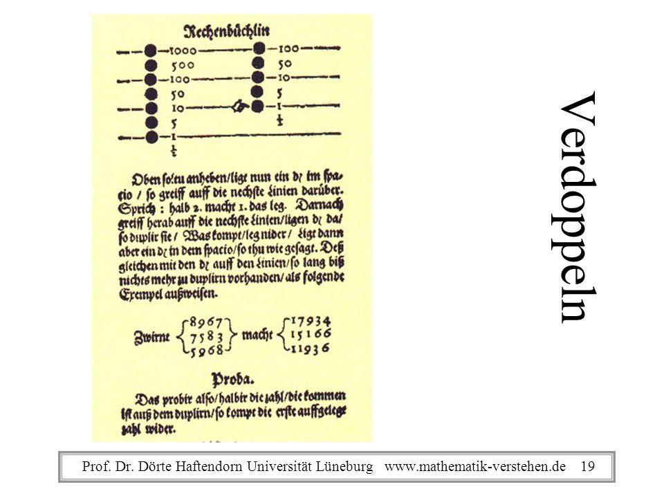 Verdoppeln Prof. Dr. Dörte Haftendorn Universität Lüneburg www.mathematik-verstehen.de 19