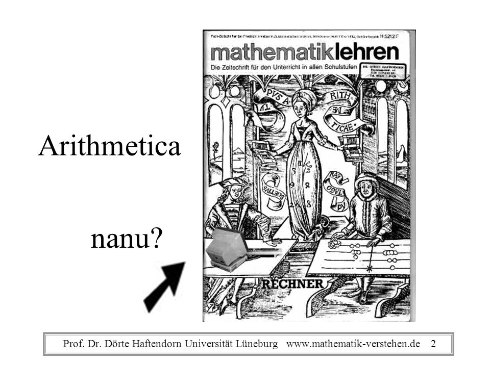 Arithmetica nanu Prof. Dr. Dörte Haftendorn Universität Lüneburg www.mathematik-verstehen.de 2
