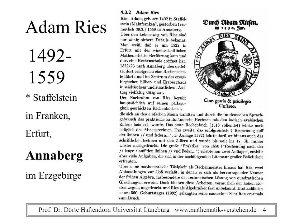 Adam Ries 1492- 1559 Annaberg * Staffelstein in Franken, Erfurt,