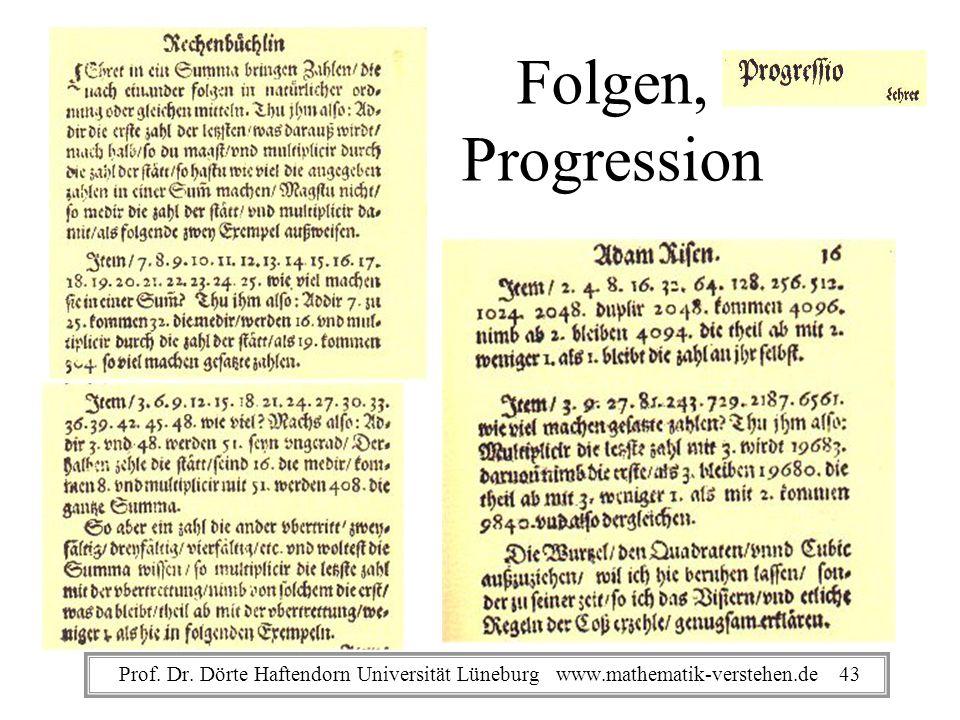 Folgen, Progression Prof. Dr.