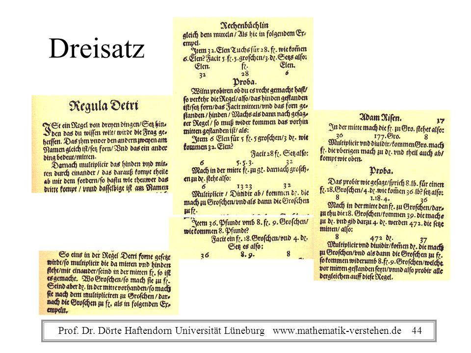 Dreisatz Prof. Dr. Dörte Haftendorn Universität Lüneburg www.mathematik-verstehen.de 44