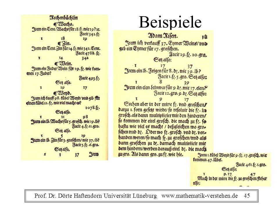 Beispiele Prof. Dr. Dörte Haftendorn Universität Lüneburg www.mathematik-verstehen.de 45