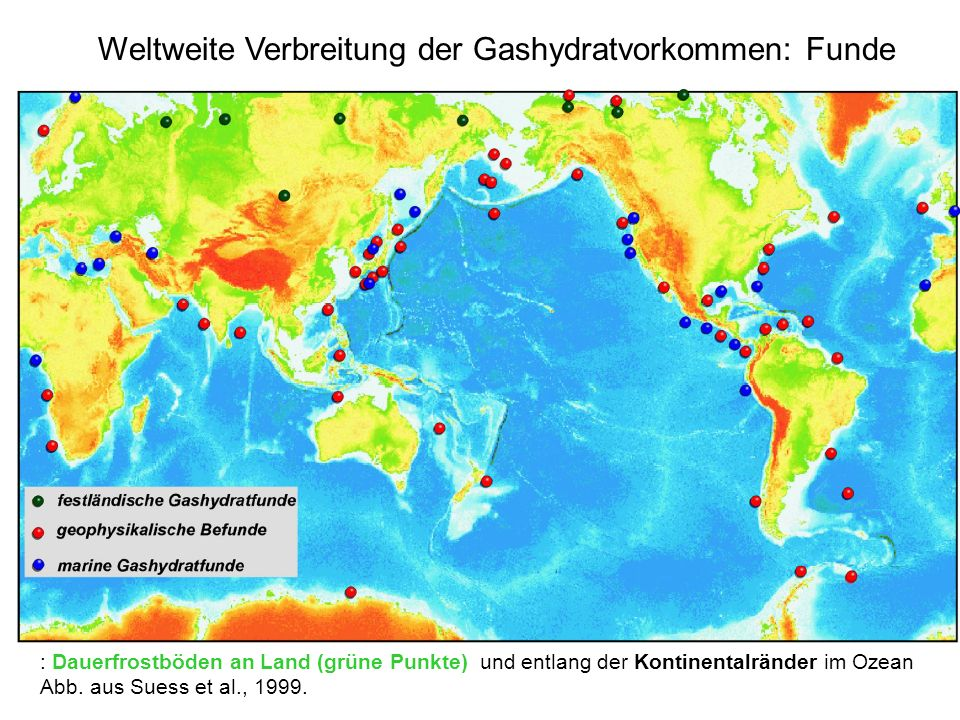 Weltweite Verbreitung der Gashydratvorkommen: Funde
