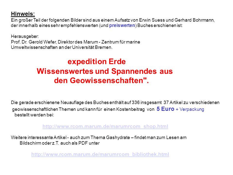 Hinweis:Ein großer Teil der folgenden Bilder sind aus einem Aufsatz von Erwin Suess und Gerhard Bohrmann,