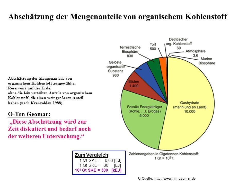 Abschätzung der Mengenanteile von organischem Kohlenstoff