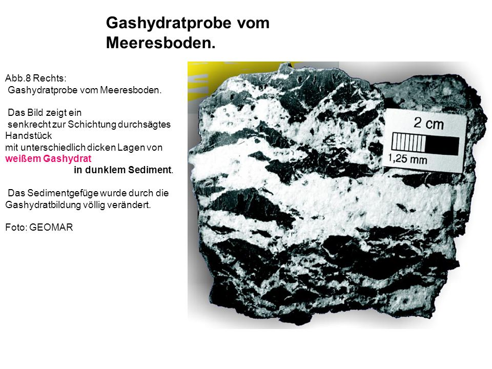Gashydratprobe vom Meeresboden.