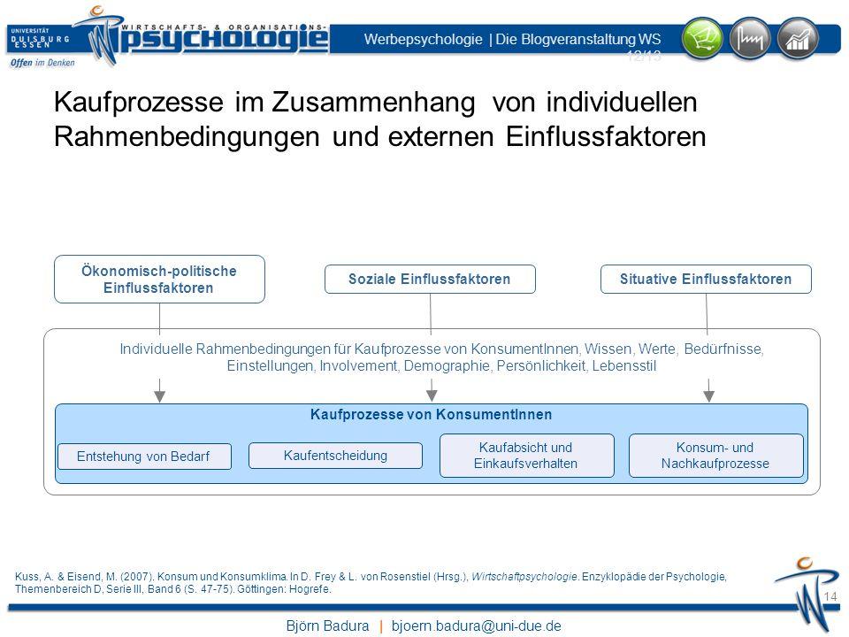 Kaufprozesse im Zusammenhang von individuellen Rahmenbedingungen und externen Einflussfaktoren