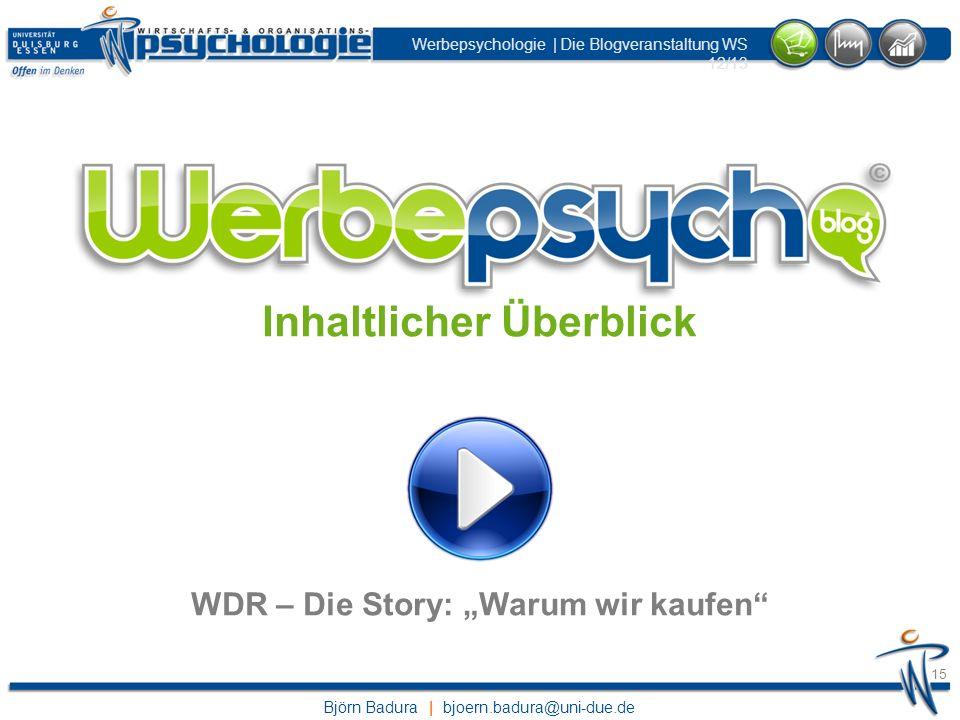 """Inhaltlicher Überblick WDR – Die Story: """"Warum wir kaufen"""