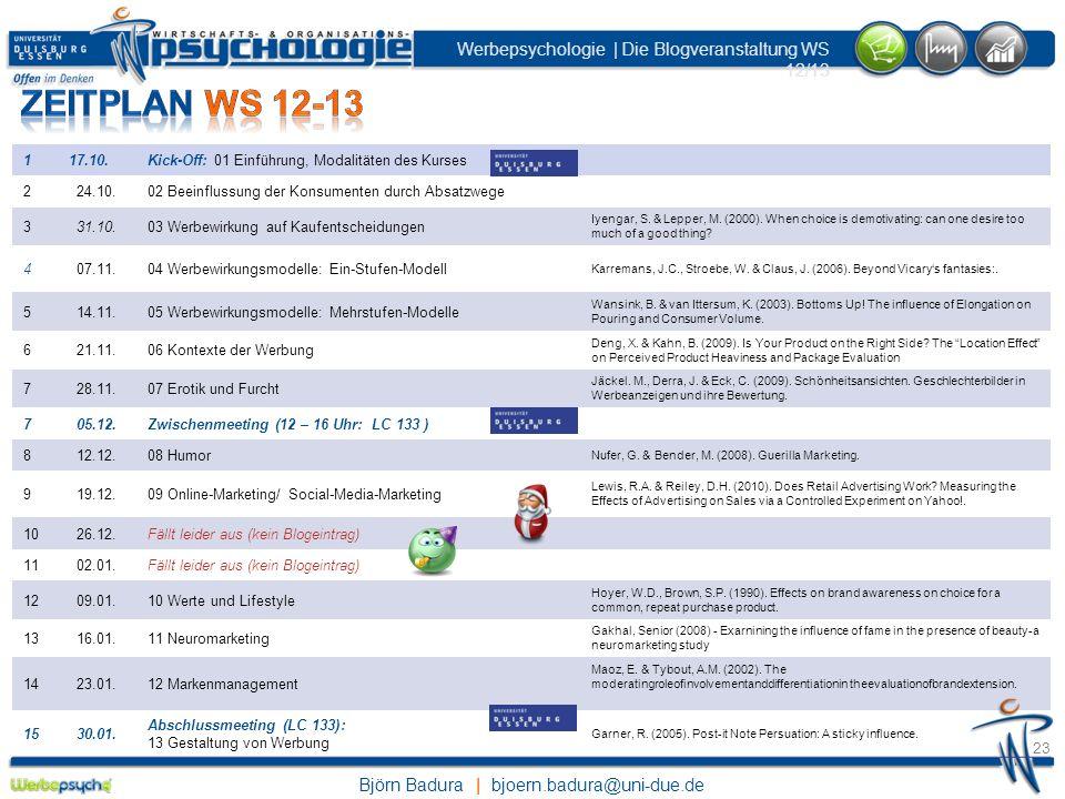 Zeitplan WS 12-131. 17.10. Kick-Off: 01 Einführung, Modalitäten des Kurses. 2. 24.10. 02 Beeinflussung der Konsumenten durch Absatzwege.