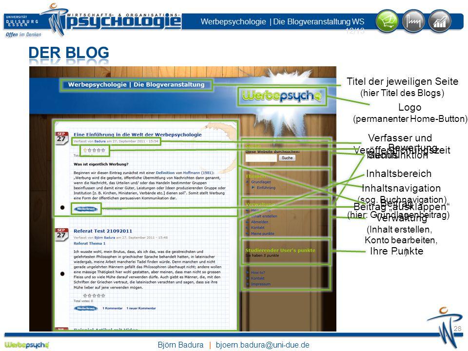 Der Blog Titel der jeweiligen Seite Logo Beitrag Inhaltsbereich