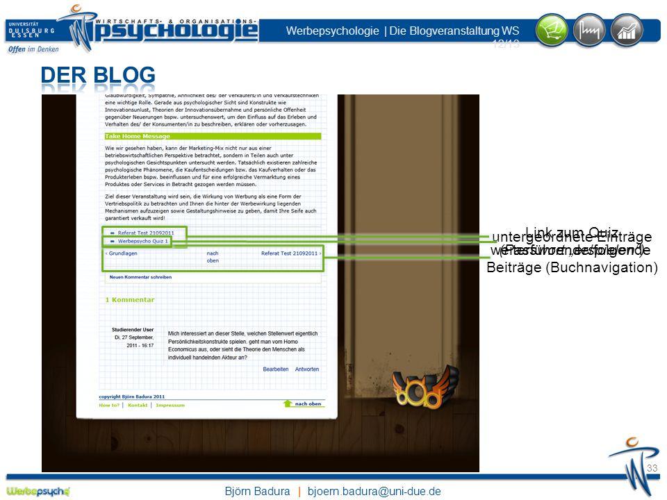 """Der Blog Link zum Quiz untergeordnete Einträge (Passwort """"erspielen )"""