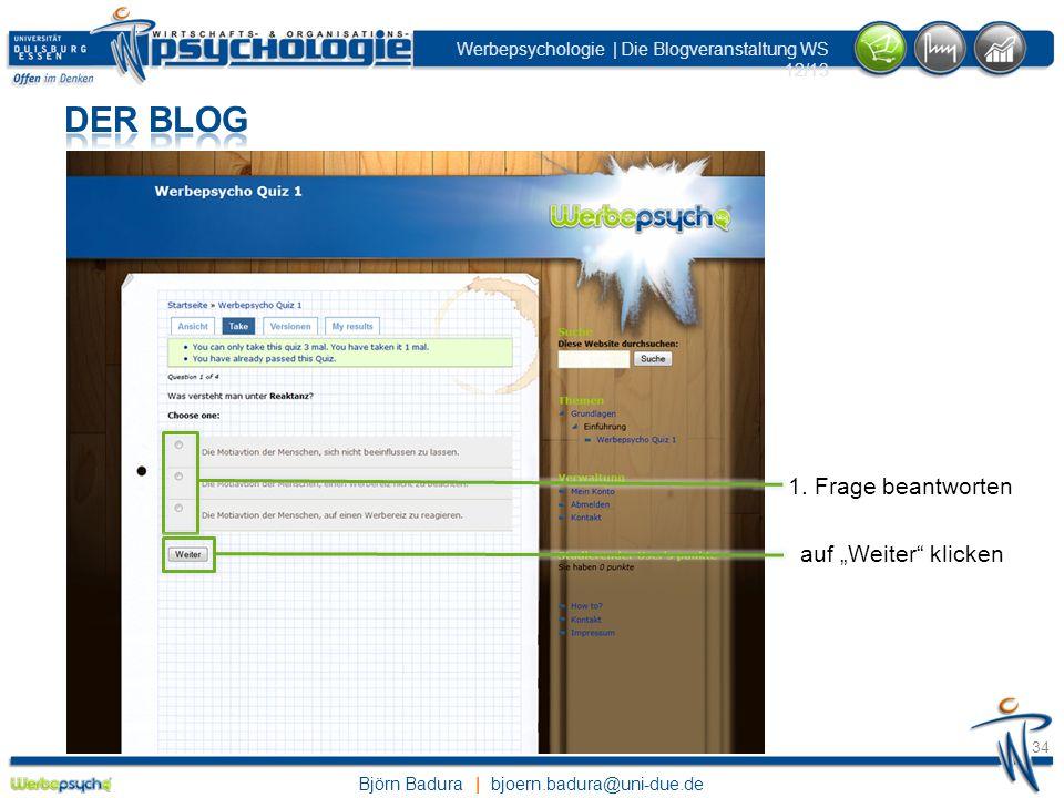 """Der Blog 1. Frage beantworten auf """"Weiter klicken"""