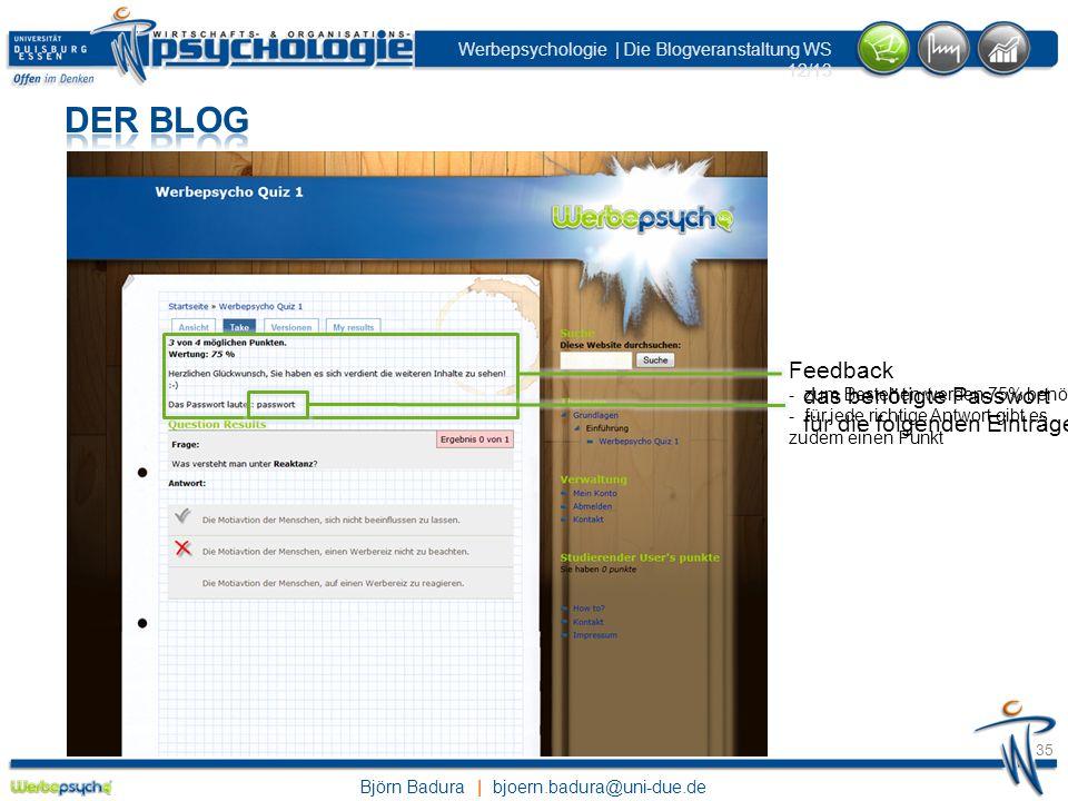 Der Blog Feedback - zum Bestehen werden 75% benötigt