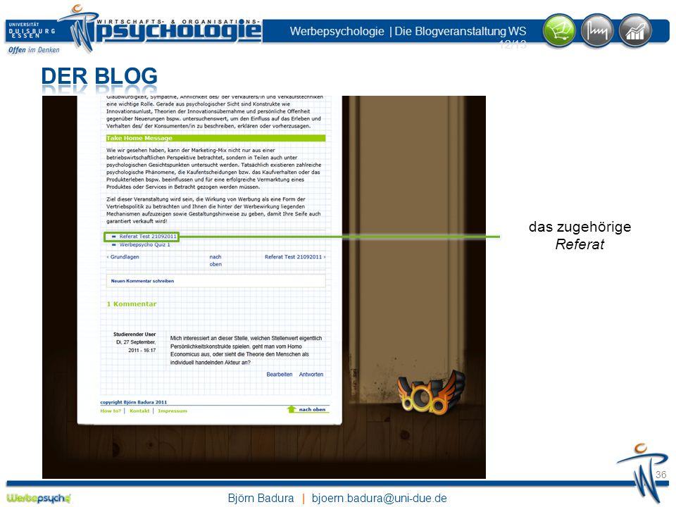 Der Blog das zugehörige Referat wieder zurück zum Grundlagenbeitrag