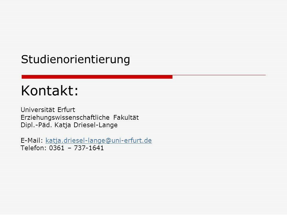 Kontakt: Studienorientierung Universität Erfurt