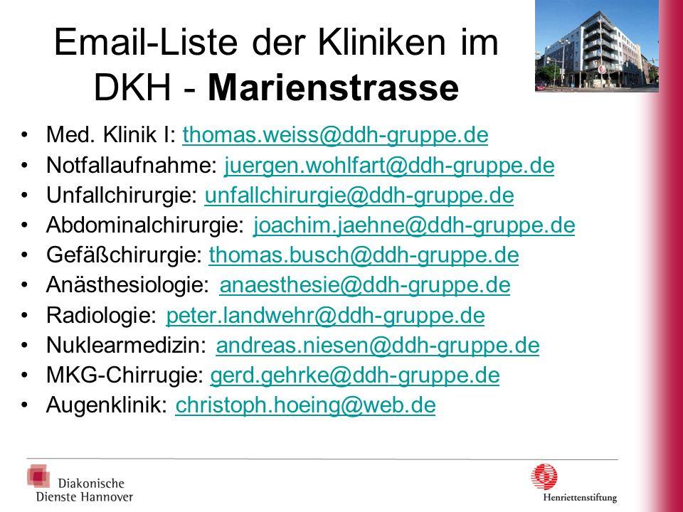 Email-Liste der Kliniken im DKH - Marienstrasse