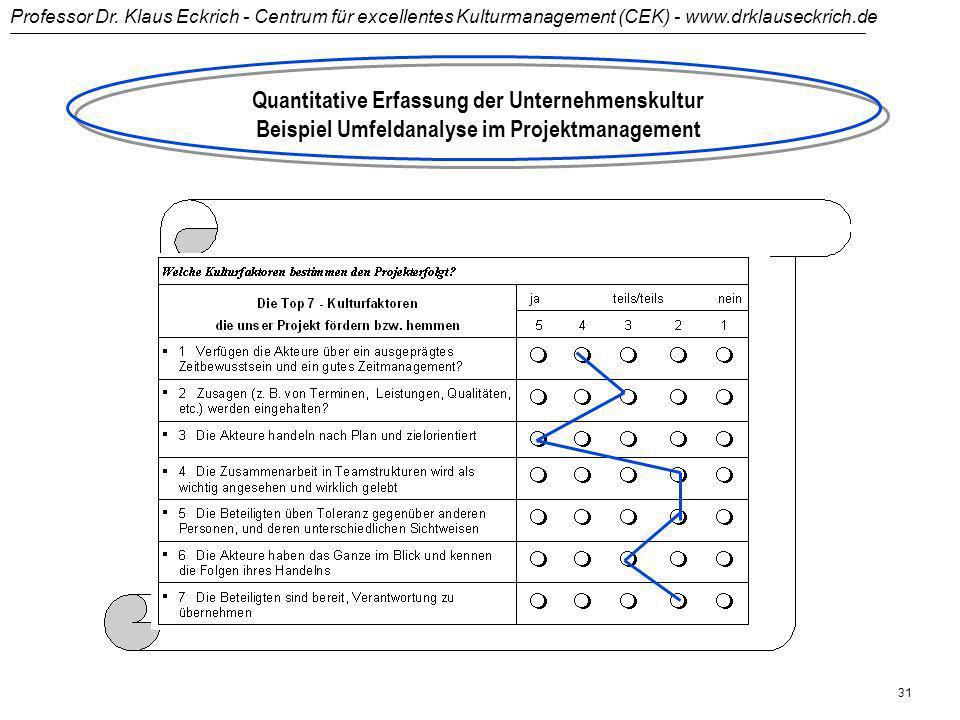 Quantitative Erfassung der Unternehmenskultur Beispiel Umfeldanalyse im Projektmanagement