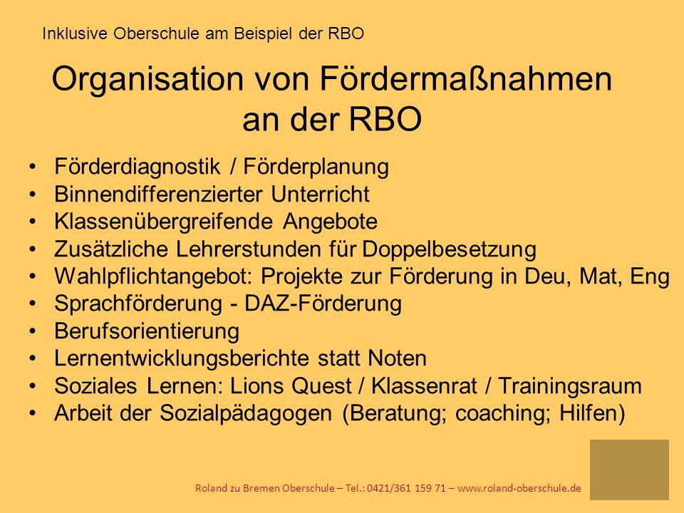Organisation von Fördermaßnahmen an der RBO