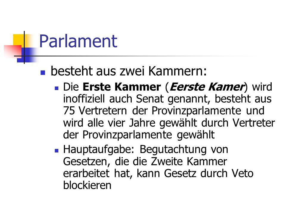 Parlament besteht aus zwei Kammern: