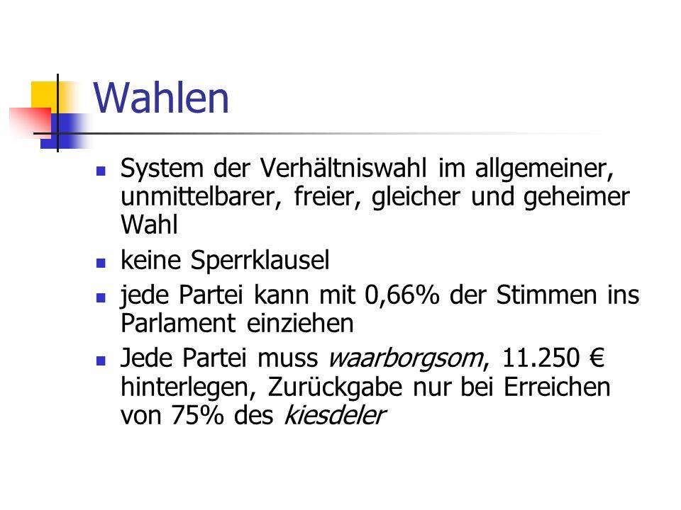WahlenSystem der Verhältniswahl im allgemeiner, unmittelbarer, freier, gleicher und geheimer Wahl. keine Sperrklausel.