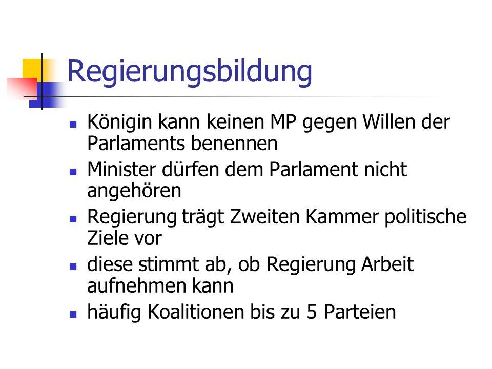 Regierungsbildung Königin kann keinen MP gegen Willen der Parlaments benennen. Minister dürfen dem Parlament nicht angehören.