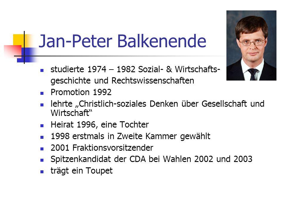 Jan-Peter Balkenende studierte 1974 – 1982 Sozial- & Wirtschafts-
