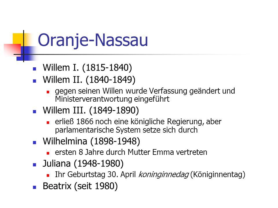 Oranje-Nassau Willem I. (1815-1840) Willem II. (1840-1849)