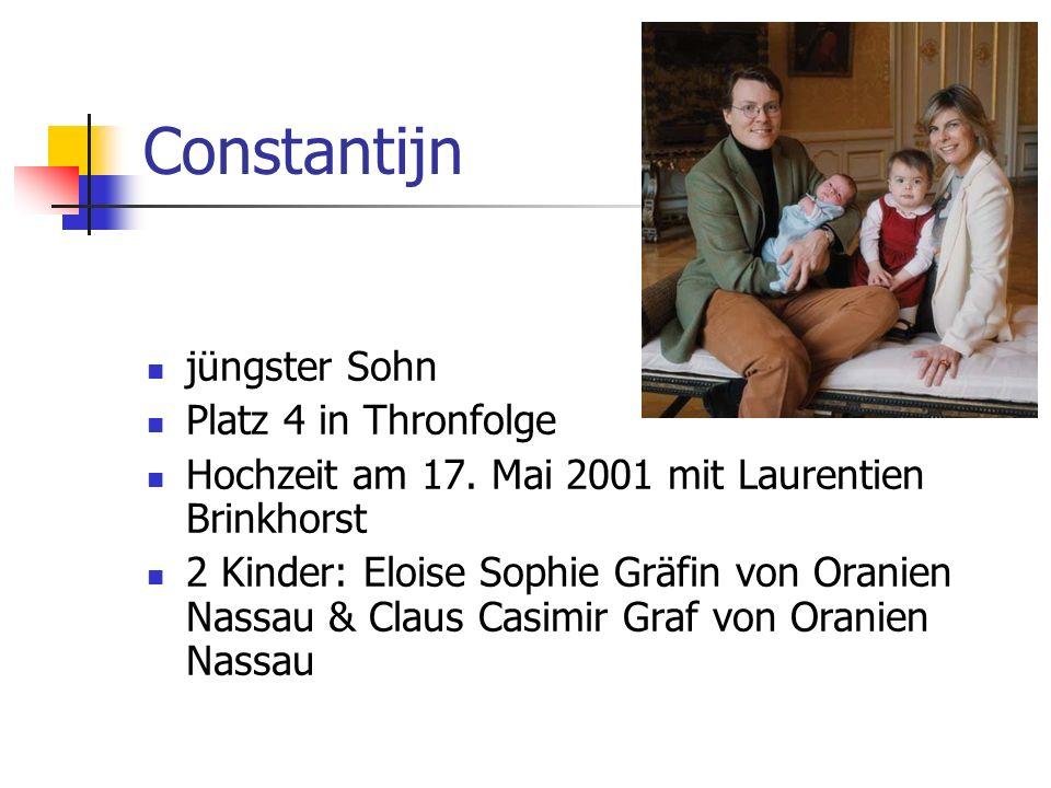 Constantijn jüngster Sohn Platz 4 in Thronfolge