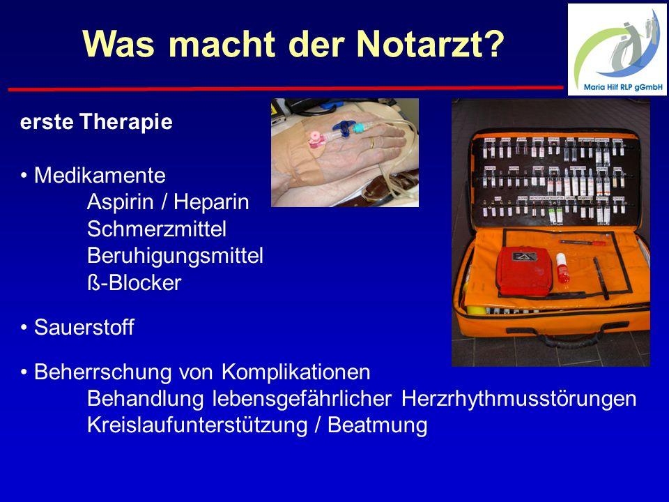 Was macht der Notarzt erste Therapie Medikamente Aspirin / Heparin