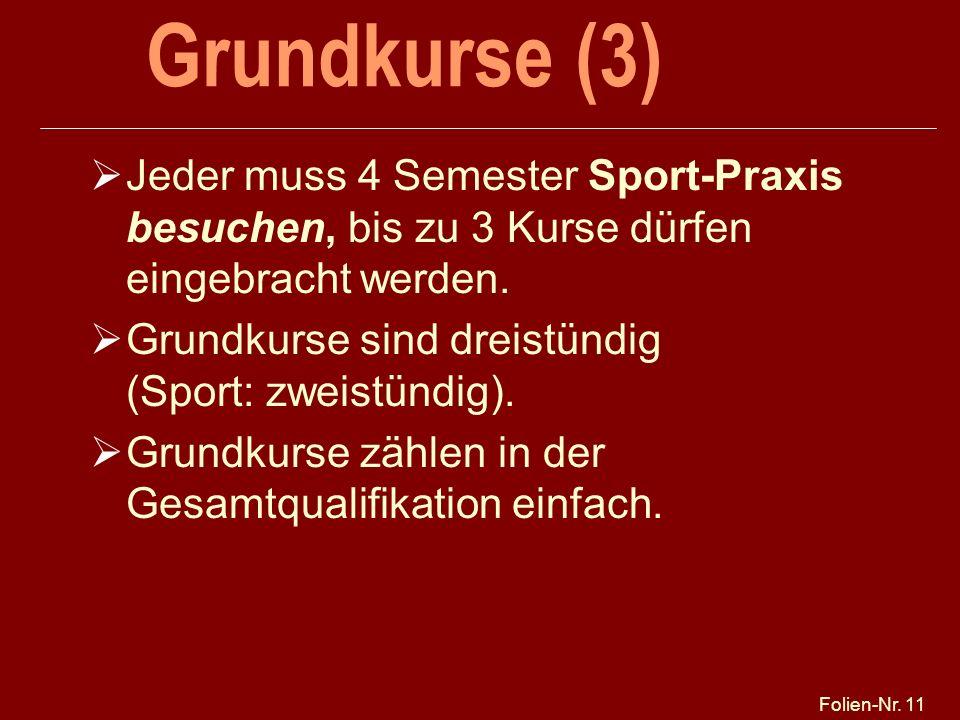 25.03.2017 Grundkurse (3) Jeder muss 4 Semester Sport-Praxis besuchen, bis zu 3 Kurse dürfen eingebracht werden.