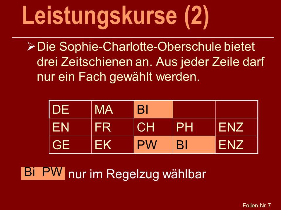 Leistungskurse (2) 25.03.2017. Die Sophie-Charlotte-Oberschule bietet drei Zeitschienen an. Aus jeder Zeile darf nur ein Fach gewählt werden.