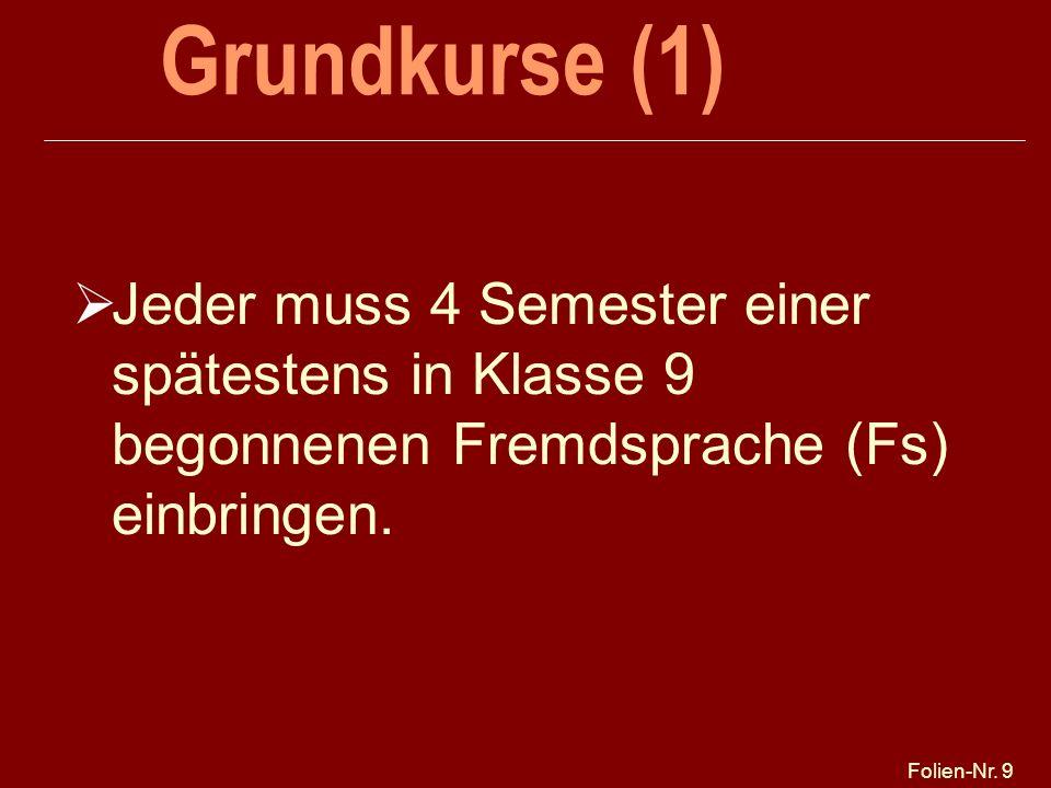 25.03.2017 Grundkurse (1) Jeder muss 4 Semester einer spätestens in Klasse 9 begonnenen Fremdsprache (Fs) einbringen.