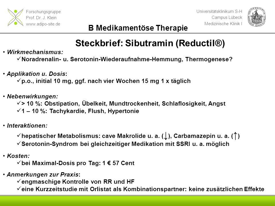Steckbrief: Sibutramin (Reductil®)
