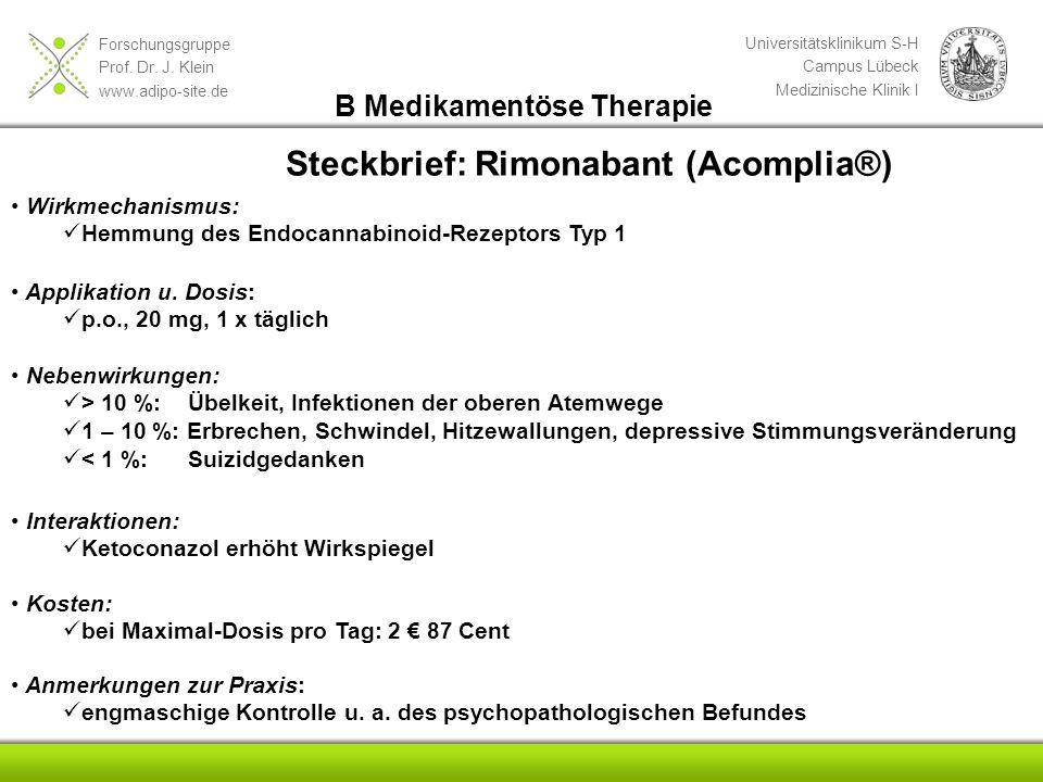 Steckbrief: Rimonabant (Acomplia®)