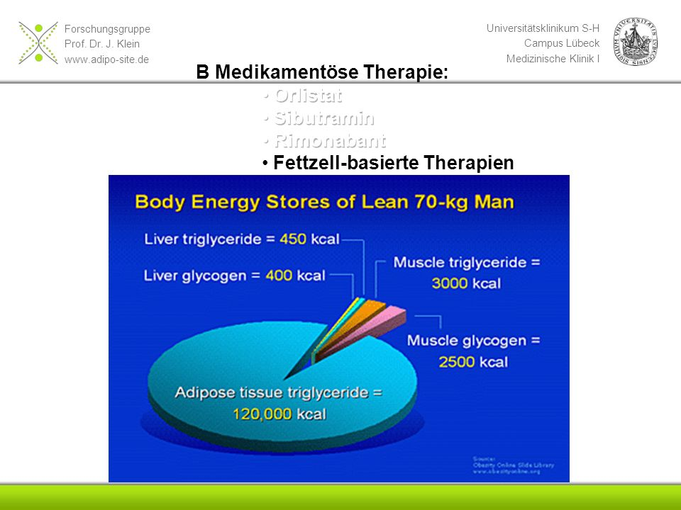 B Medikamentöse Therapie: Orlistat Sibutramin Rimonabant