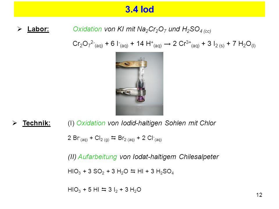 3.4 Iod Labor: Oxidation von KI mit Na2Cr2O7 und H2SO4 (cc)