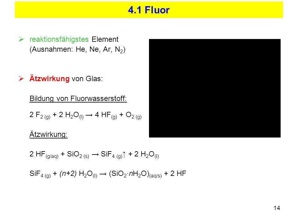4.1 Fluor reaktionsfähigstes Element (Ausnahmen: He, Ne, Ar, N2)
