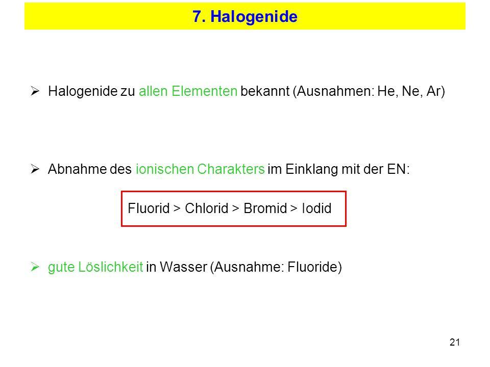 7. Halogenide Halogenide zu allen Elementen bekannt (Ausnahmen: He, Ne, Ar) Abnahme des ionischen Charakters im Einklang mit der EN: