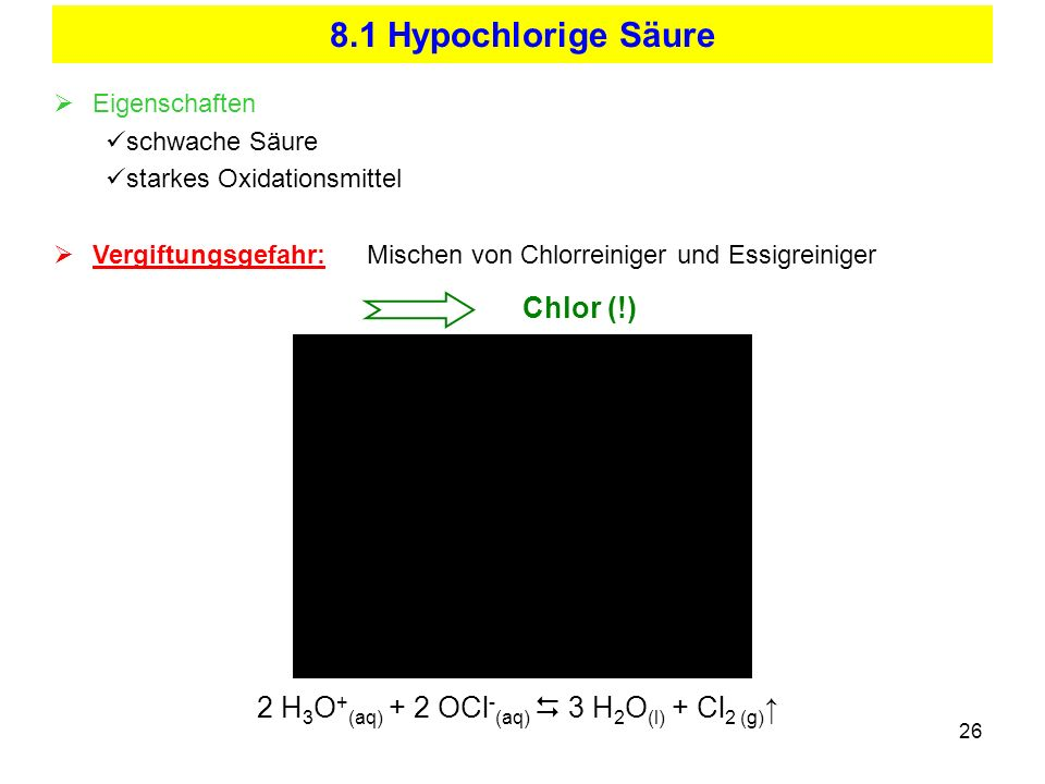 8.1 Hypochlorige Säure Chlor (!)