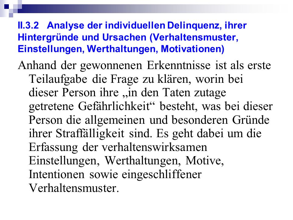 II.3.2 Analyse der individuellen Delinquenz, ihrer Hintergründe und Ursachen (Verhaltensmuster, Einstellungen, Werthaltungen, Motivationen)