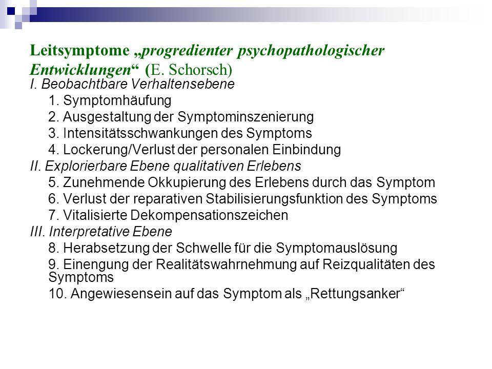"""Leitsymptome """"progredienter psychopathologischer Entwicklungen (E"""
