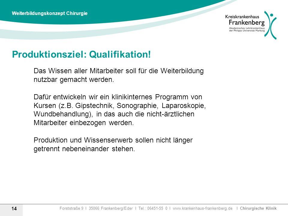 Produktionsziel: Qualifikation!